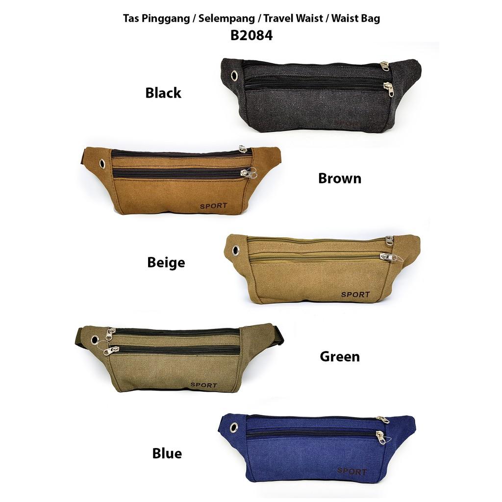 Mairu Tas Pinggang Selempang Kanvas Travel Korea Sling Bag Multifungsi  844bc02ba2