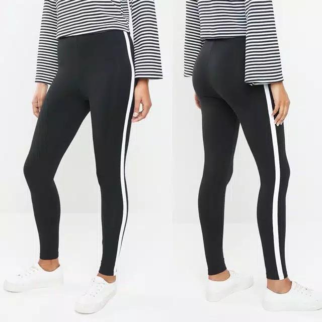 Legging Wanita Stripe Putih For Ver 21 Original Branded Murah Celana Cewek Leging Hitam Garis Putih Shopee Indonesia