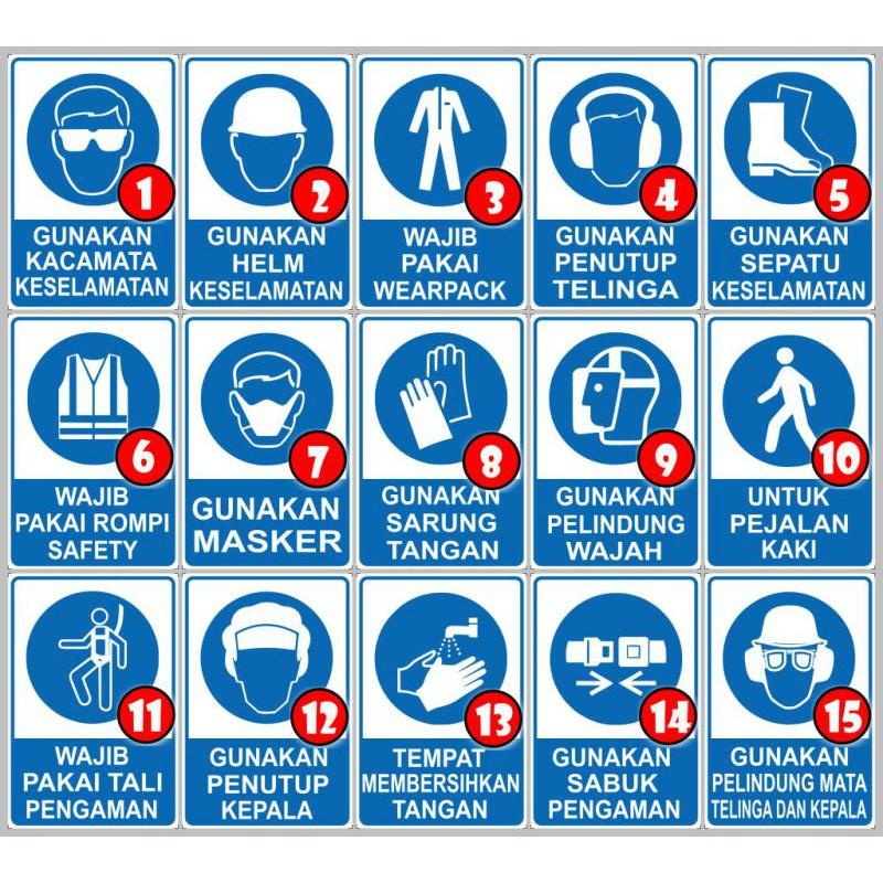 Dheashop Safety Sign Label Rambu Petunjuk K3 Eesh Gunakan Sepatu Keselamatan Shopee Indonesia