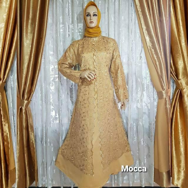 Gamis Rompi Kancing 3 Brukat Tile Mutiara Full Keliling Tk01 Ukuran M Xxxl Shopee Indonesia