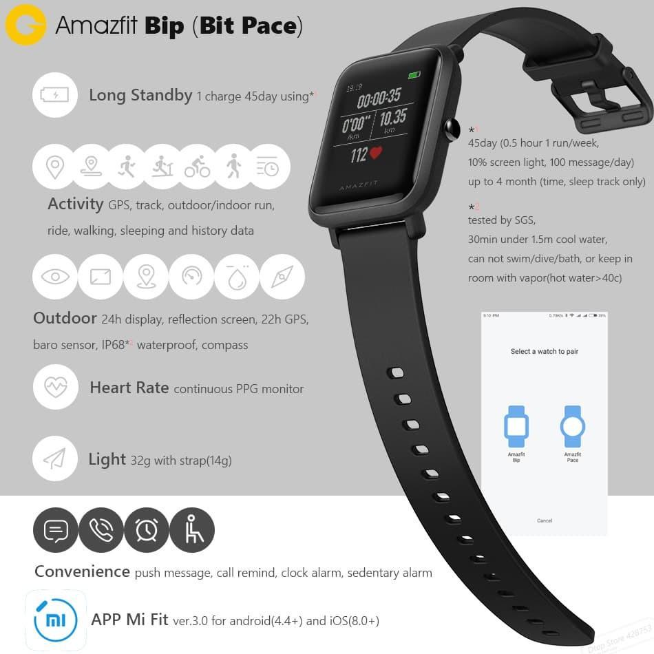 Diskon Xiaomi Huami Amazfit Bip Lite International Version Smart Cor Hitam Watch Shopee Indonesia
