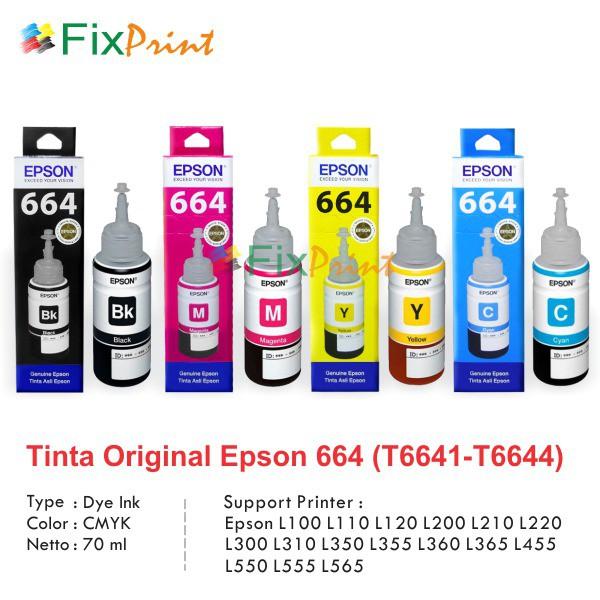 Tinta Epson 664 T664 Original, Tinta Printer L110 L120 L210 L220 L300 L310 L350 L355 L360 L455 L550   Shopee Indonesia