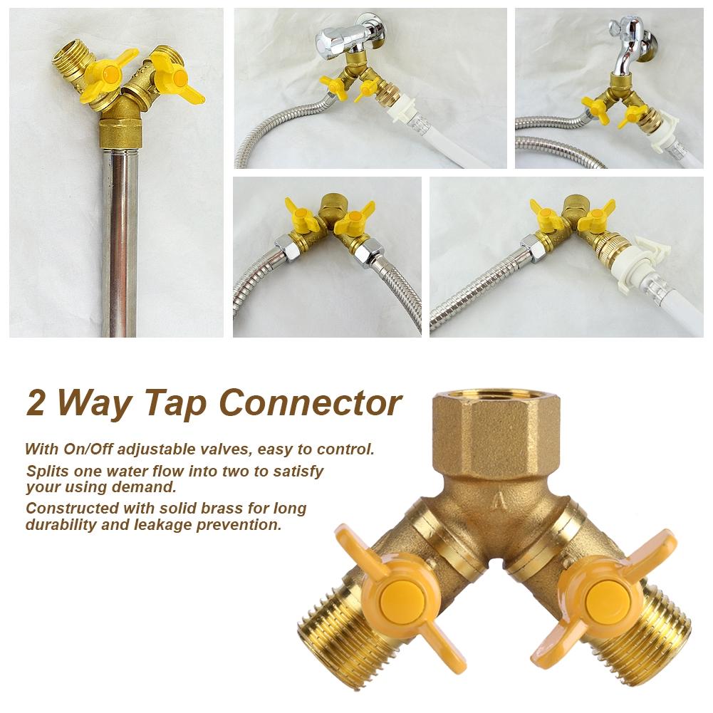 "SOLID BRASS 2 WAY DOUBLE GARDEN IRRIGATION TAP SHUT-OFF CONNECTOR ADAPTOR 3//4/"""