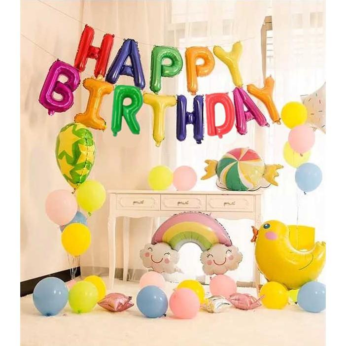Happy Birthday Warna Bayi Anak Lucu Selamat Ulang Tahun Surat Balon Warna Warni Pelangi Permen Balon Shopee Indonesia