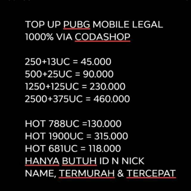Harga Preferensial Top Up Uc Pubg Mobile Legal 100 Via Coda Shop
