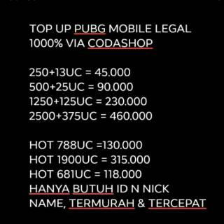 Harga preferensial TOP UP UC PUBG MOBILE LEGAL 100% VIA CODA SHOP