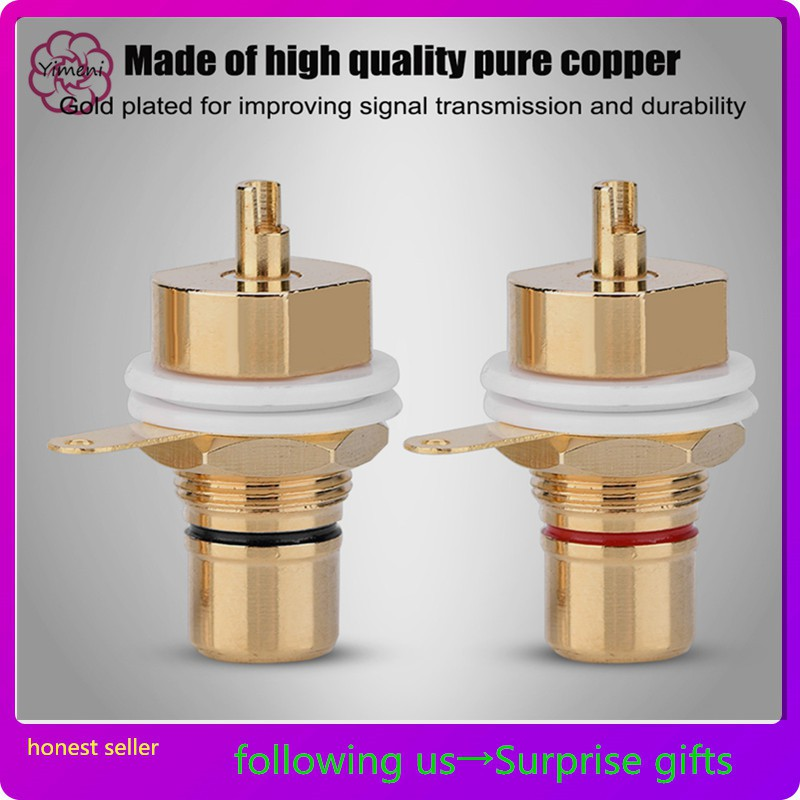 2 Pcs RCA Audio Y Splitter Plug Adapter 1 Male to 2 Female Gold Plated T2