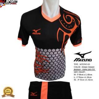 [ Mizuno 03 Hitam Oranye ]Baju Olahraga Jersey Bola Setelan Futsal / Volly Badminton Mizuno