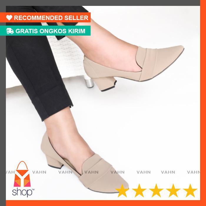Vahn RACHEL Sepatu Kerja Wanita Casual Formal Pantofel High Heels Hitam Navy Cream VN01 | Shopee
