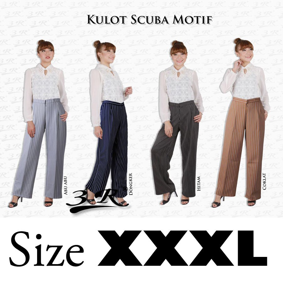 Celana Kulot Wanita Jumbo Panjang Model Rempel Mutif M133 Atasan Dewasa Hitam Abu Misty Shopee Indonesia