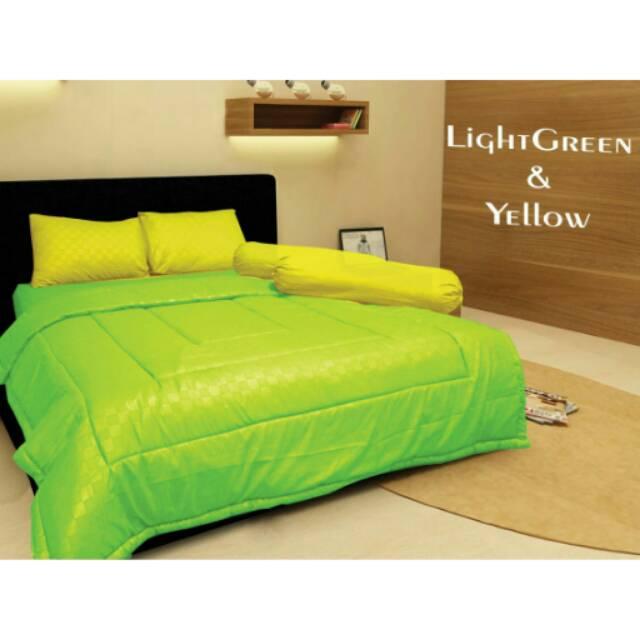 Uk 180 160 Tinggi 30 sprei polos Embos Arabella Jaquard Light Green & Yellow   Shopee Indonesia
