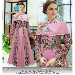 As35 Baju Gamis Pesta Pernikahan Muslim Brokat Brukat Modern Premium