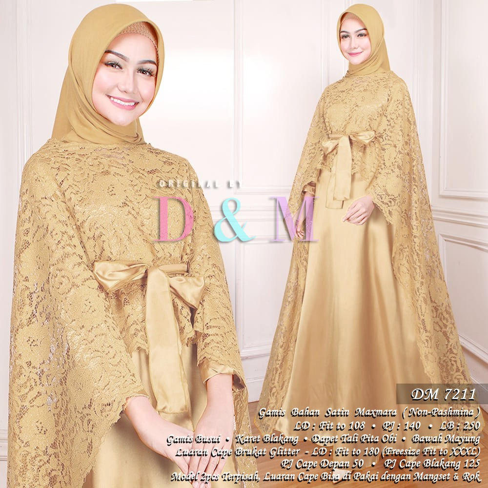 Gamis Maxi Maxy Cape Brukat Brokat Brocade Baju Gaun Dress Pesta
