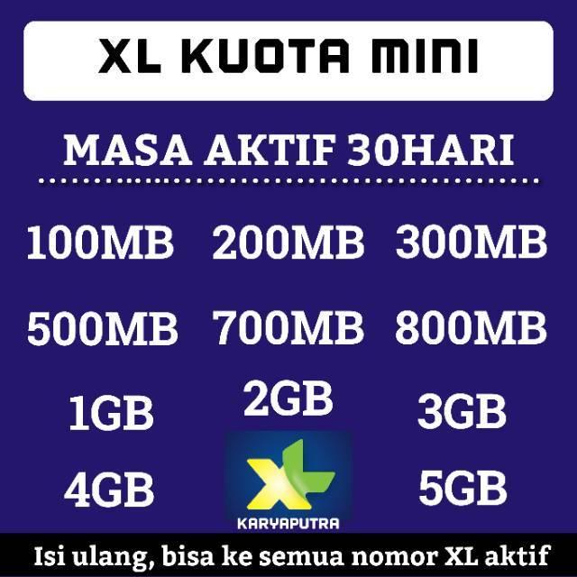 XL KUOTA MINI HARIAN 100MB 500MB 1GB 2GB 3GB 4GB 5GB 6GB Isi Ulang Kuota XL Hotrod Xtra Plus