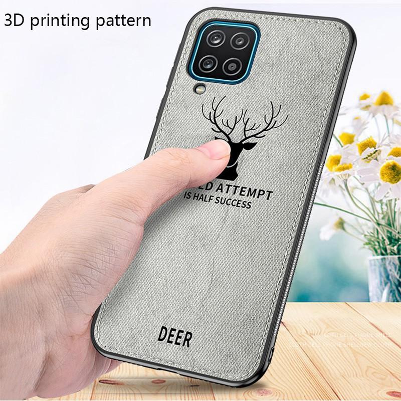 Case Samsung A12 Cloth Leather Deer Case Premium Softcase Casing