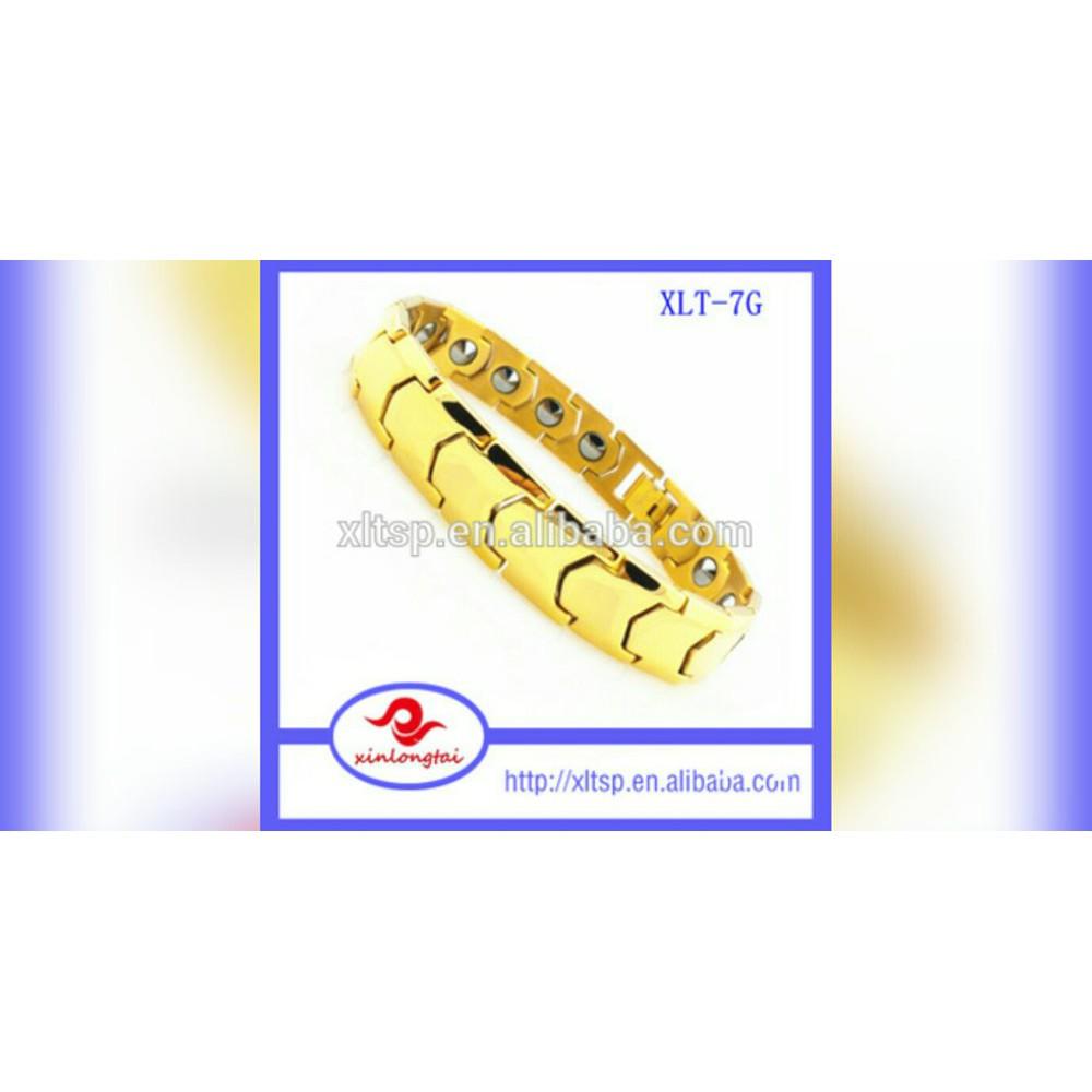 Promo gelang magnet pria titanium polos gold black kesehatan b14 berkualitas shopee indonesia