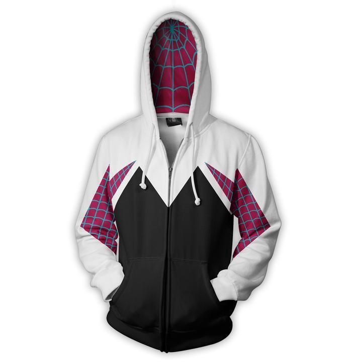 3D Superhero Venom Gwen Stacy Spiderman Sweater Adult Lady Hoodie Cosplay Coat