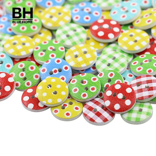 100pcs 13mm Dots Wooden Buttons Embellishment for Scrapbooking Cardmaking