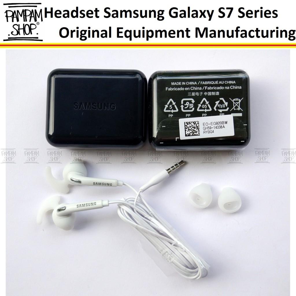 Stereo Headset Samsung Galaxy S7 Series / S7 EDGE Original OEM | EO-EG920BW Handsfree Putih | Shopee Indonesia