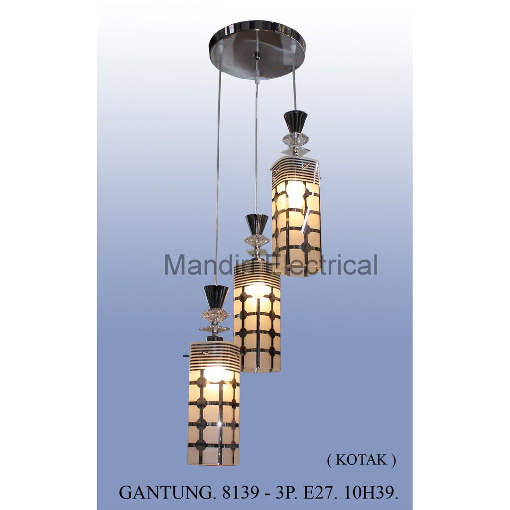 LAMPU GANTUNG VINTAGE HIAS KAIN DIAMOND KAFE CAFE JARING E27 SET ISI 3 | Shopee Indonesia