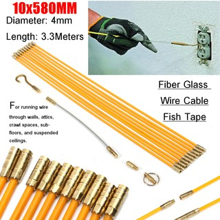 10pcs 6mm Fiberglass Cable Puller Running Wire Cable Coaxial Electrical Fish Tape Pull Push Kit Threader Guide Electricians Handsome Appearance Power Tool Accessories