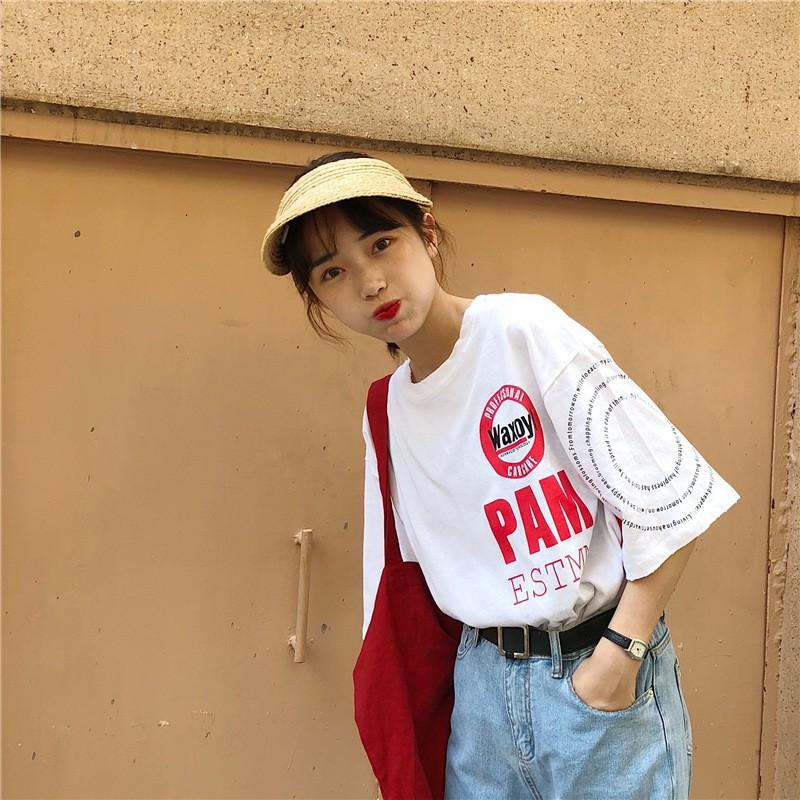 2018 katun musim panas baru lengan pendek T-shirt wanita bagian panjang kasih sayang |
