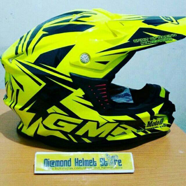 Helm Trail GM Super Cross SE Tracker GREEN Fourecent Black | Shopee Indonesia