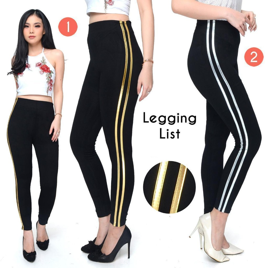 Cod Legging 2 List Legging Wanita Fashion Wanita Celana Legging Celana Legging Import Shopee Indonesia