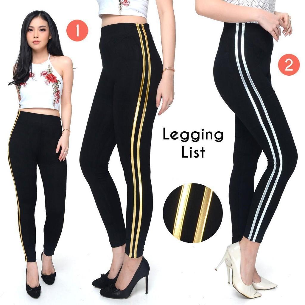 Cod Legging 2 List Legging Wanita Fashion Wanita Celana Legging Celana Legging Import Shopee Indonesia