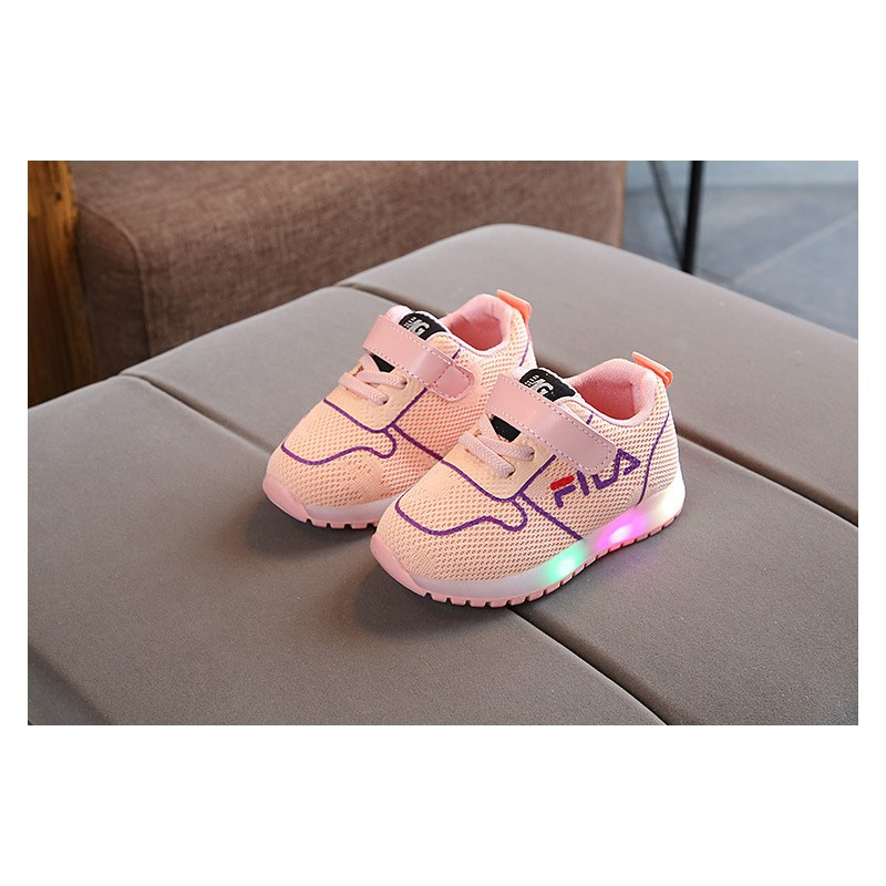 Sepatu Led Fila Warna Peach Sepatu Kets Anak Perempuan Alas Karet