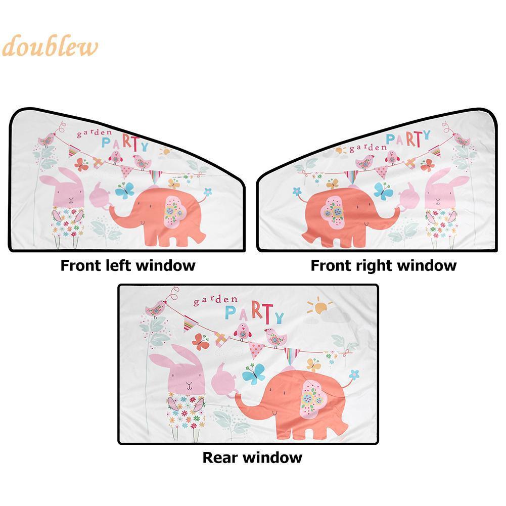 Tirai Jendela Mobil Magnetik Pelindung Sinar Matahari Motif Gajah Kartun