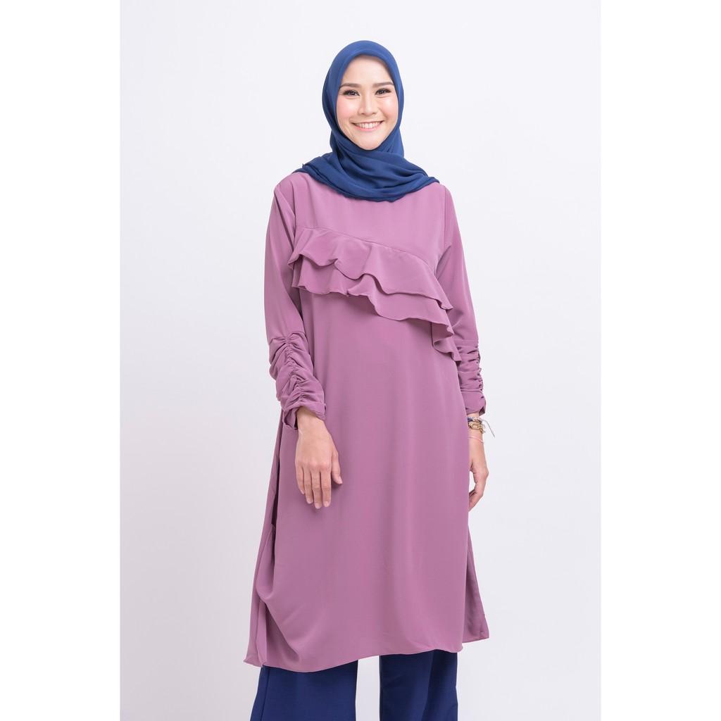Zm Gwen Purple Tunik Shopee Indonesia Zaskia Mecca Eile Navy L