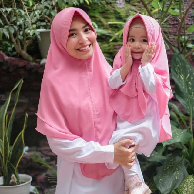 Khimar Couple Kerudung Ibu Anak Bahan Ceruti Baby Doll Shopee Indonesia