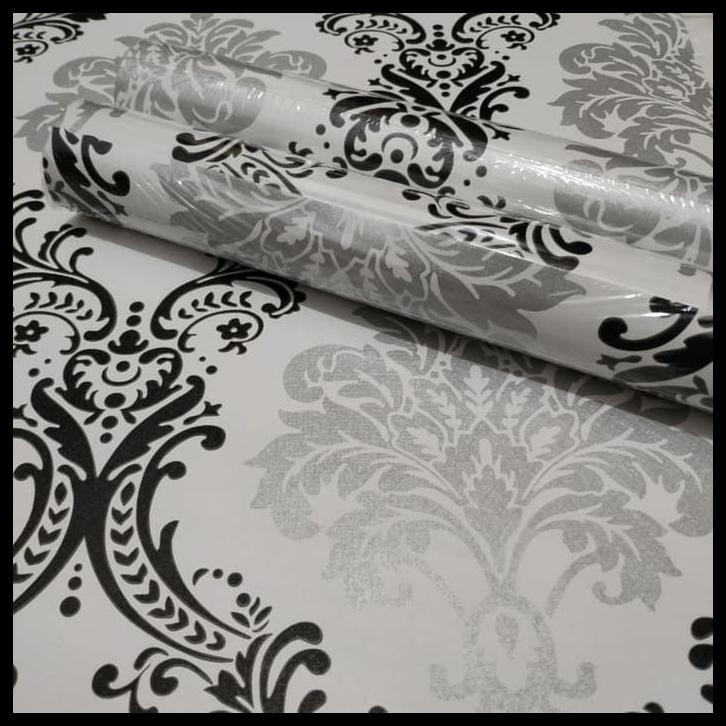Luxury Vintage Black Silver 45 Cm X 10 Mtr Wallpaper Dinding