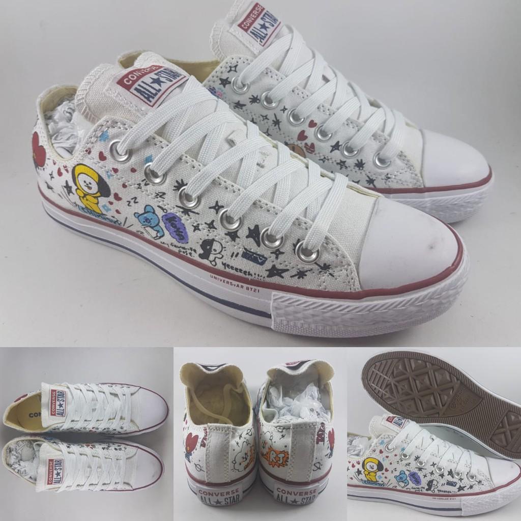 259649b6d48d Sepatu Converse All Star Chuck Taylor X BTS BT21 LINE Low White Putih