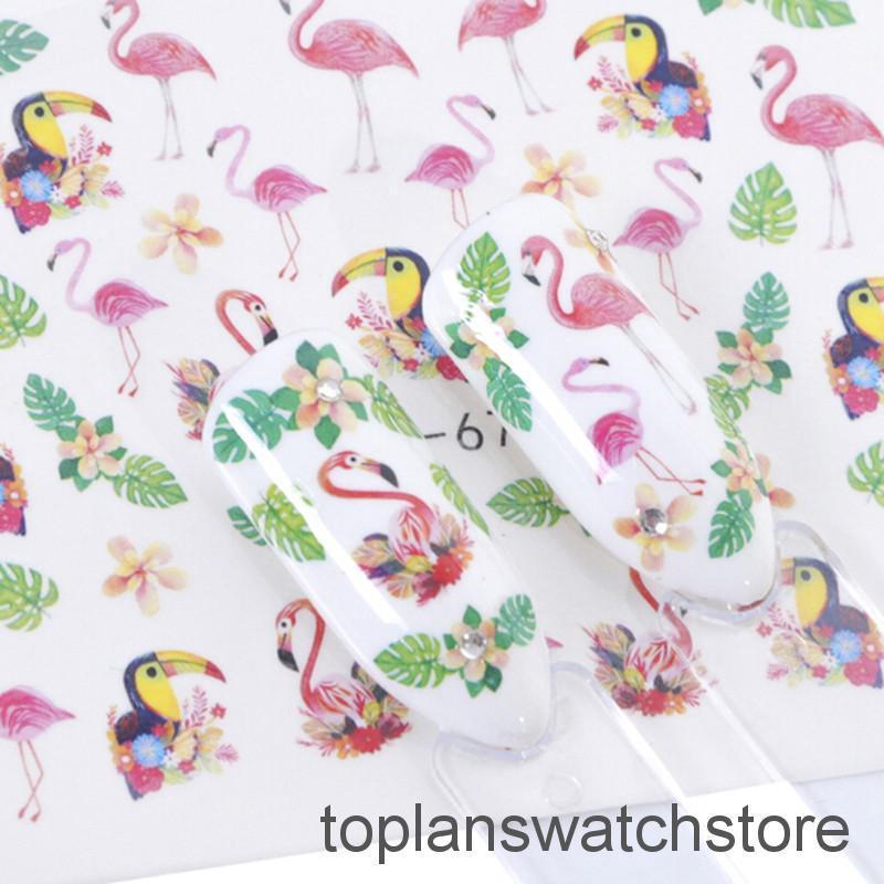 Nail Art Bunga: TOPL 15Pcs Stiker Kuku Motif Bunga Mawar / Burung / Bunga