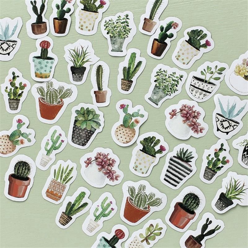 Kaktus Tanaman Bunga Kartun Diary Planner Stiker 45 Pieces Set Shopee Indonesia