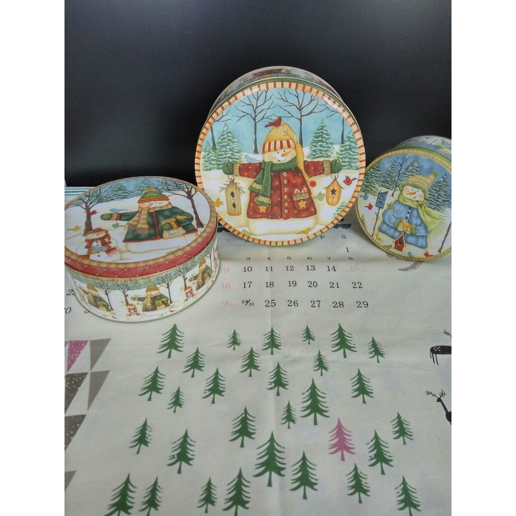 Kaleng Motif Snowman 1 Set Tin Toples Storage Tempat Penyimpanan