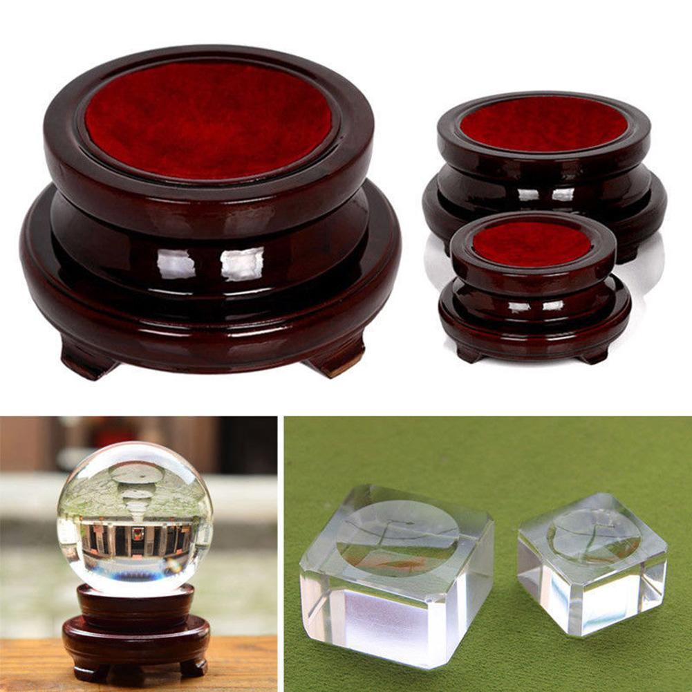Vintage Wood Display Stand Base Holder Crystal Ball Sphere Globe Stone Decor New