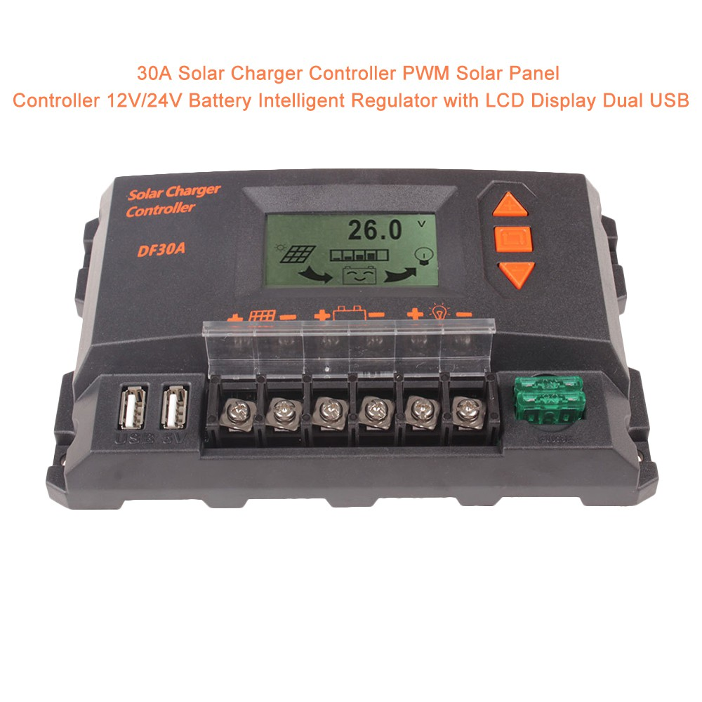 30A Solar Charge Controller Solar Panel Battery Intelligent Regulator with Dual USB Port PWM LCD Display 12V//24V