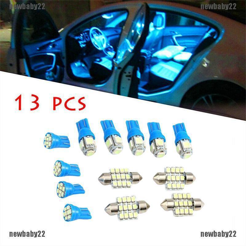 13x Blue LED Bulbs Car Interior T10 31mm Map Dome License Plate Light Lamp Kit