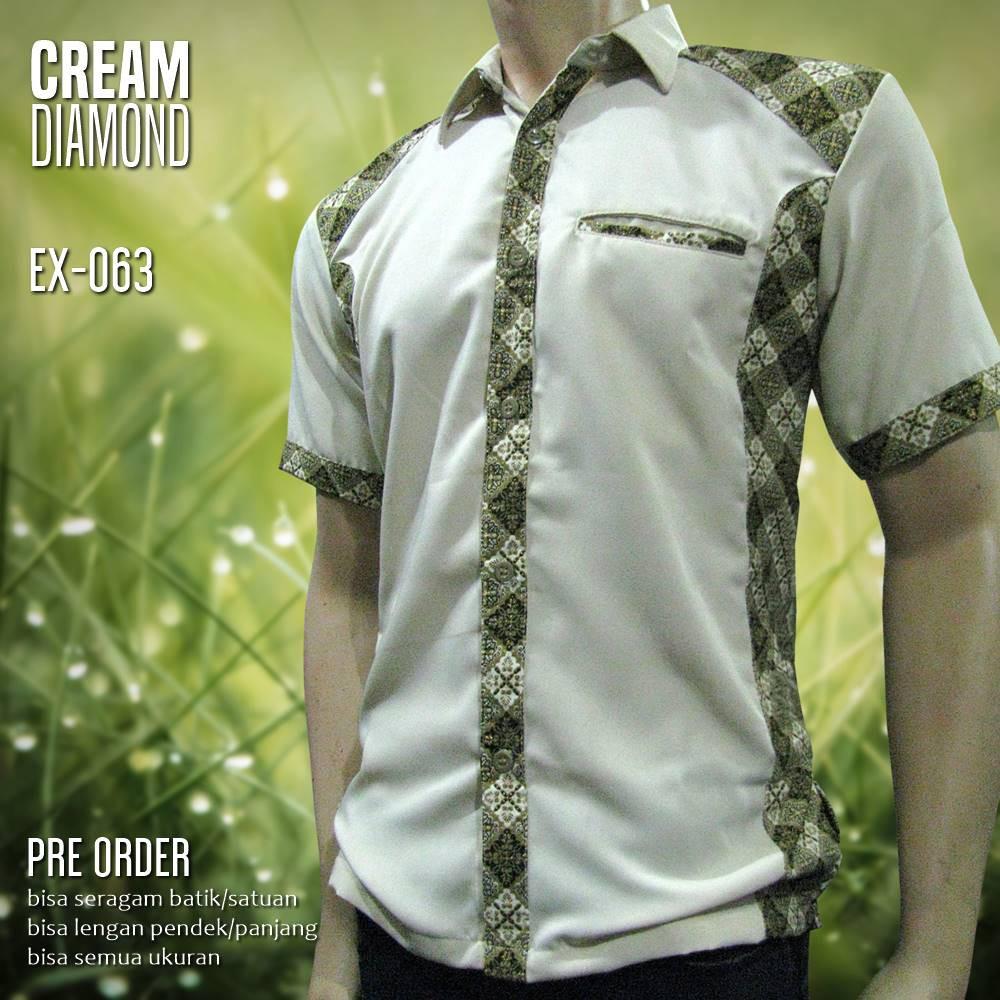 Desain Baju Batik Pria Kombinasi Lengan Panjang   Gejorasain