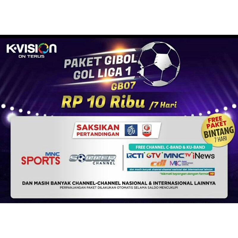 Paket Liga Indonesia K-Vision GOL (GARDINER OTTIMO/OPTUS OP-66HD/LG-101 STARS)
