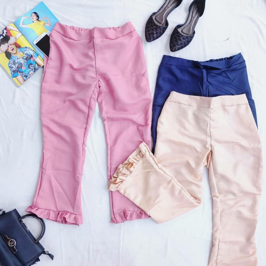 Hellooxza Zara Pants Shopee Indonesia Nagita List Side Stripe Hitam Merah Bahan Scuba