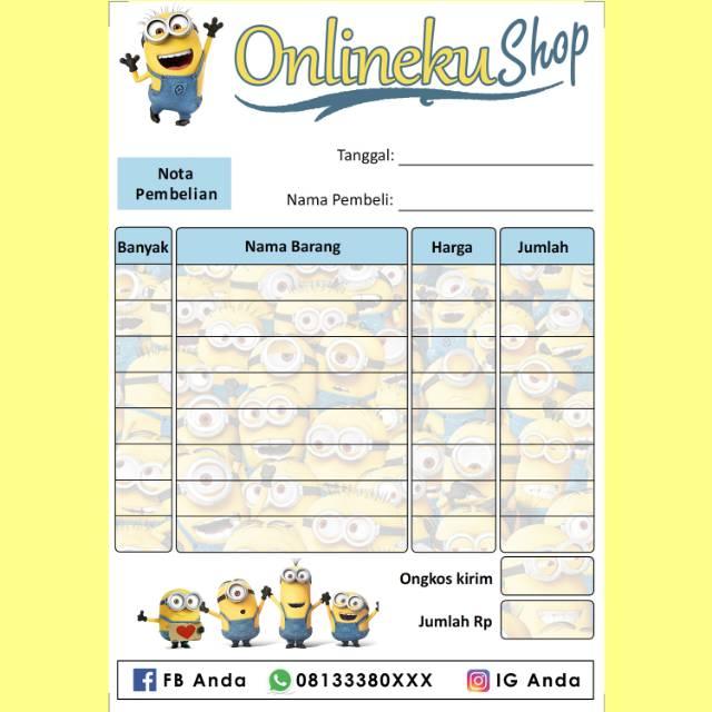 Nota Penjualan Pembelian Custom Toko Olshop Online Shop Karakter Kartun Minion Lucu Imut Murah