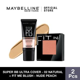 Maybelline Super BB Ultra Cover SPF 50 BB Cream (02 Natural) + Fit Me Blush (Nude Peach) thumbnail