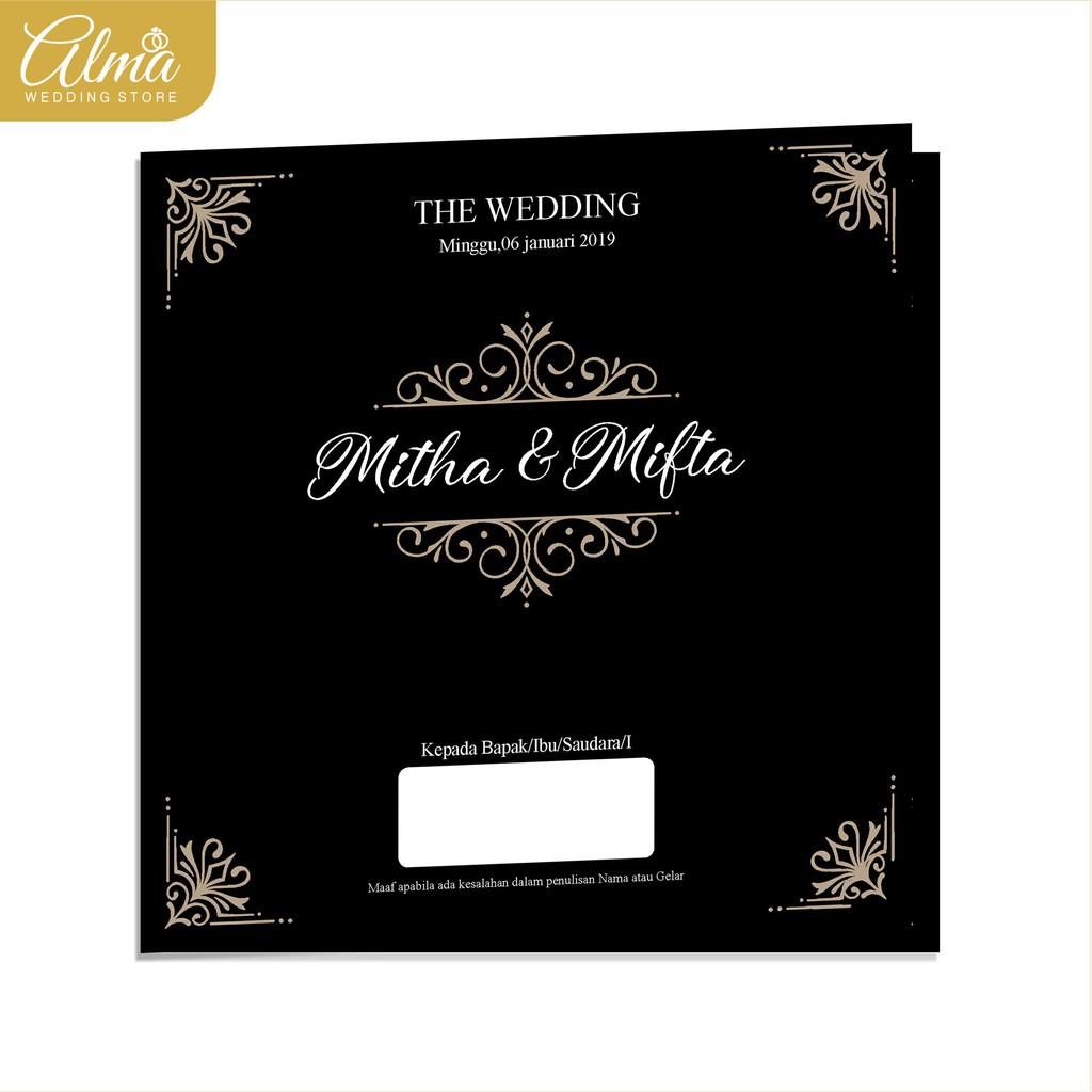 undangan pernikahan hitam ornamen shopee indonesia undangan pernikahan hitam ornamen
