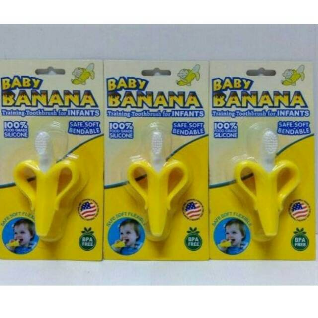 Sikat Gigi Bayi Baby Banana Tooth Brush Teether Baby Gigitan Bayi ... c5cb324170