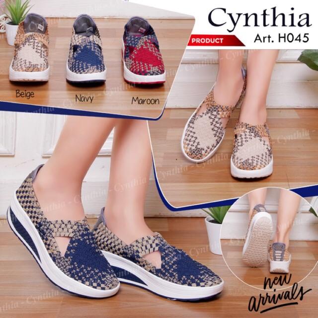 Cynthia HR035 Original Sepatu Wedges Rajut Anyam Wanita  165d131eb3