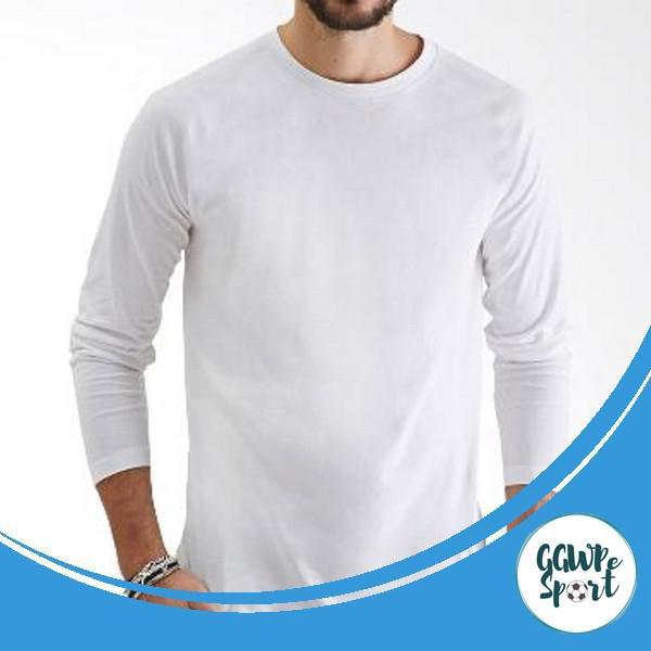 Kaos Polos Lengan Panjang Cotton Combed 30s Katun Pria Longsleeve Warna Putih Kualitas Terbaik Shopee Indonesia